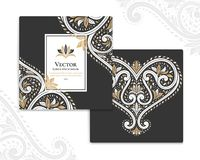 Black invitation cards with ornamental heart. Great black card for invitation, flyer, menu, brochure, postcard, background, wallpaper, decoration, or any desired Stock Images