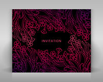 Black invitation with floral decoration. Royalty Free Stock Images