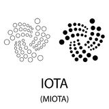 IOTA black silhouette. Black iota cryptocurrency symbol isolated on white background Royalty Free Stock Photography