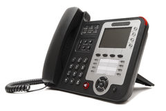 Black IP office phone  on white background Stock Photo