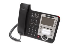 Black IP phone close up isolated Stock Photo
