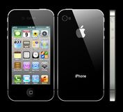 Black IPhone 4S with profile. The latest generation iphone , highly popular around the world Royalty Free Stock Image