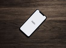 Black Iphone 7 on Brown Table Royalty Free Stock Images