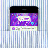 Black iPhone 6 displaying Viber application