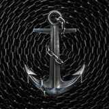 Black iron anchor on chain background. 3d render Stock Photography