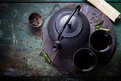 Black iron asian tea set Royalty Free Stock Image