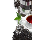 Black iron asian teapot with sprigs of mint for te Royalty Free Stock Images