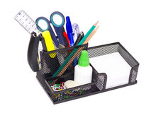 Black iron clerical support. Black iron stand with clerical office supplies stock image