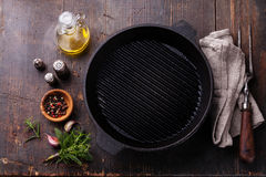 Black iron empty grill pan Stock Images
