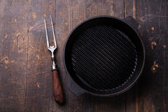 Black iron empty grill pan Stock Image