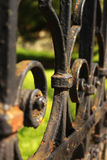 Black iron fence detail stock photos