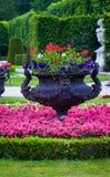 Black iron flower pot. Formal gardens in vienna with a black iron flower pot Royalty Free Stock Images