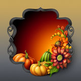Black iron frame with colorful flowers arrangement and pumpkins Royalty Free Stock Images