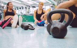 Black iron kettlebell on the floor of fitness Royalty Free Stock Photography