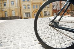 Black iron transport for cycling in city Royalty Free Stock Photography