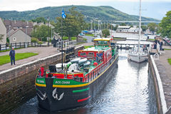 Black Isle viewed from Muirtown locks. On the Caledonian Canal on ' Go wild on the Canal ' event held on 23rd August 2014 Royalty Free Stock Photos