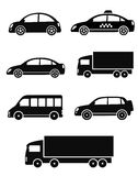 Black isolated cars set Royalty Free Stock Photo