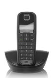 Black isolated dect phone Royalty Free Stock Images