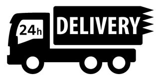 Black isolated delivery truck silhouette. For 24 hour services Royalty Free Stock Images