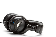 Black isolated headphones Royalty Free Stock Images
