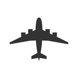Black isolated silhouette of airplane on white background. View from above of aeroplane. Black isolated silhouette of airplane on white background. View from royalty free illustration