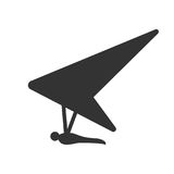 Black isolated silhouette of hang glider on white background. Icon of side view of hang-glider. Royalty Free Stock Photos