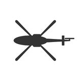 Black isolated silhouette of helicopter on white background. Icon of above view of helicopter.  vector illustration