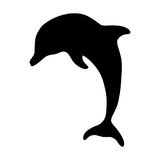 Black isolated silhouette of jump dolphin on white background. Black isolated silhouette of jump dolphin on white background Stock Image