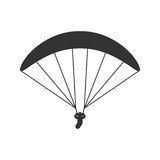 Black isolated silhouette of paraglider on white background. Icon of side view of parachute. vector illustration