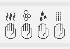 Black isolated washing hands with water drops, soap, and blow dryer air sign icons set. On gray background royalty free illustration