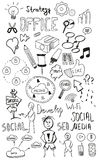 Black isolated web doodles set Royalty Free Stock Image