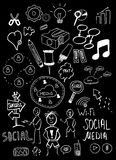 Black isolated web doodles set Royalty Free Stock Photos