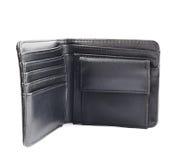black isolerad läderplånbok Arkivfoto