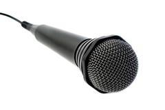 black isolerad mikrofon Arkivbilder