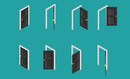 Black isometric door. Set of the opened and closed doors. Vector illustration. Royalty Free Stock Image