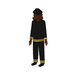 Black isometric firewoman. African-American woman firefighter in uniform standing full face. Stock Vector Isometric-style games, infographics, reports, websites Stock Photos