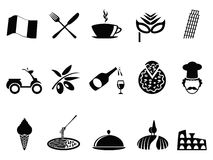 Black italy icons set Stock Image