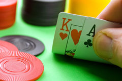 Black jack. A image of a black jack game with poker chips Royalty Free Stock Photos