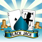 Black Jack. Abstract colorful background with ace of spades, black jack and golden coins Stock Image