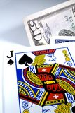 Black Jack. With a bet royalty free stock photography