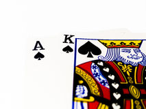 Black Jack Game Card with White Background. A playing card is a piece of specially prepared heavy paper, thin cardboard, plastic-coated paper, cotton-paper blend Stock Photos