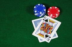 Black Jack Hand. Playing black jack in Las Vegas Stock Photo