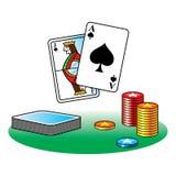 Black Jack poker. Casino gamble ace chips table stock illustration