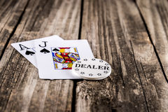 Black Jack Poker on Wood Stock Photography