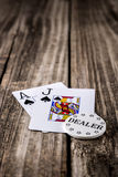 Black Jack Poker on Wood Stock Images