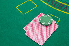 Black jack table Stock Photography