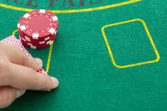 Black jack table Royalty Free Stock Photography