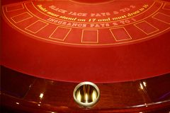Black Jack table. A games table in a casino on a cruise ship royalty free stock image