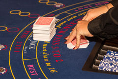 Black jack table Royalty Free Stock Photos