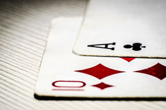 Black jack. A winning hand in a card game black Jack Royalty Free Stock Images